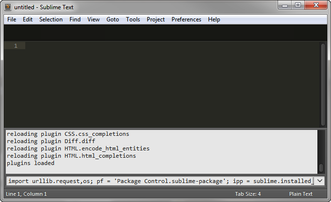 Sublime Text's console with the Package Control installation command in it